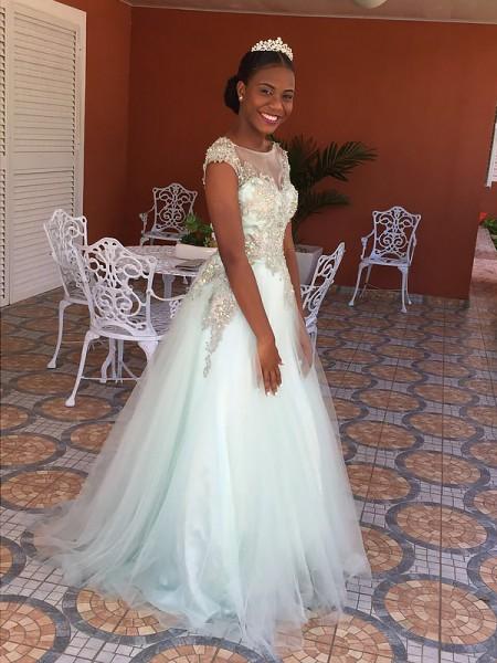 A-Line/Princess Floor-Length Tulle Sleeveless Bateau Applique Dresses