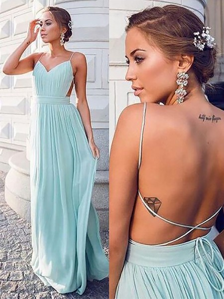 A-Line Spaghetti Straps Floor-Length With Ruched Chiffon Dress