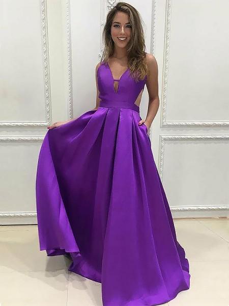 A-Line/Princess Sleeveless Ruffles Satin Sweep/Brush Train V-neck Dresses