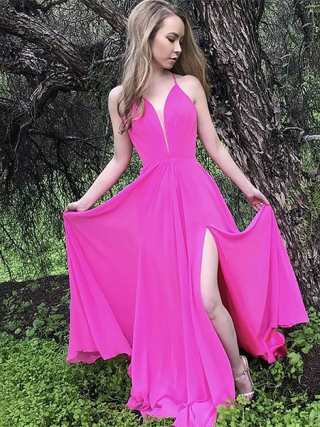 A-Line/Princess Sleeveless Ruffles Chiffon Sweep/Brush Train Spaghetti Straps Dresses
