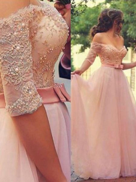 A-Line/Princess 1/2 Sleeves Lace Tulle Floor-Length Off-the-Shoulder Dresses