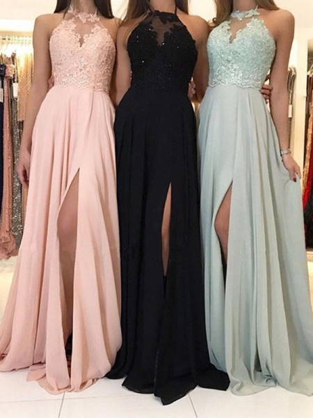 A-Line/Princess Sleeveless Applique Chiffon Sweep/Brush Train Halter Dresses
