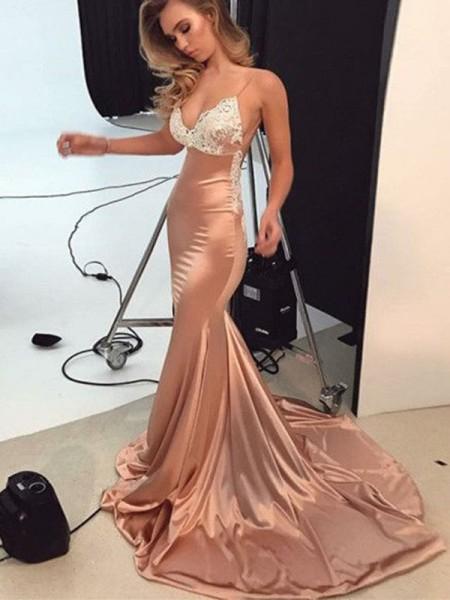 Trumpet/Mermaid Sleeveless Applique Silk like Satin Sweep/Brush Train Straps Dresses