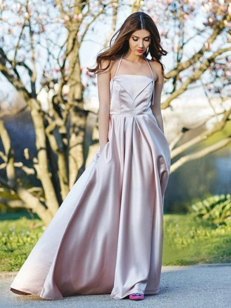 A-Line/Princess Sleeveless Ruffles Satin Sweep/Brush Train Halter Dresses