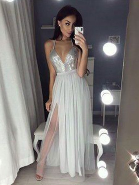 A-Line/Princess Sleeveless Beading Chiffon Floor-Length V-neck Dresses