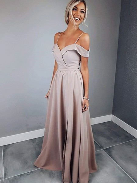 A-Line/Princess Short Sleeves Ruffles Satin Floor-Length Spaghetti Straps Dresses