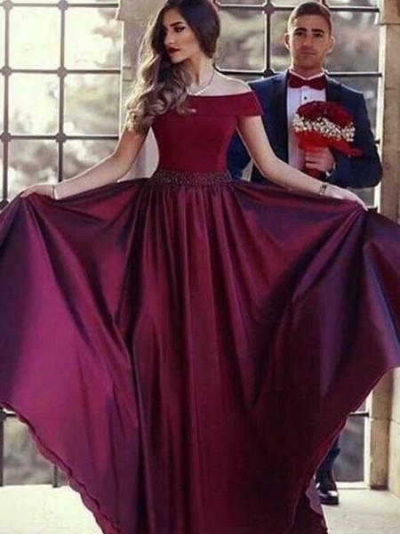 A-Line/Princess Sleeveless Ruffles Satin Sweep/Brush Train Off-the-Shoulder Dresses