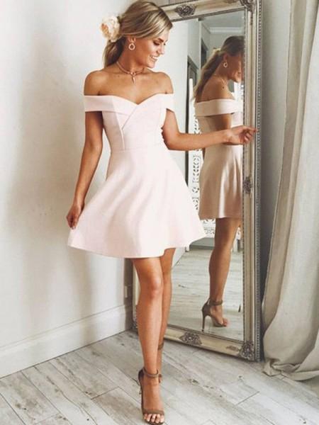 A-Line/Princess Off-the-Shoulder Satin Short/Mini Dress