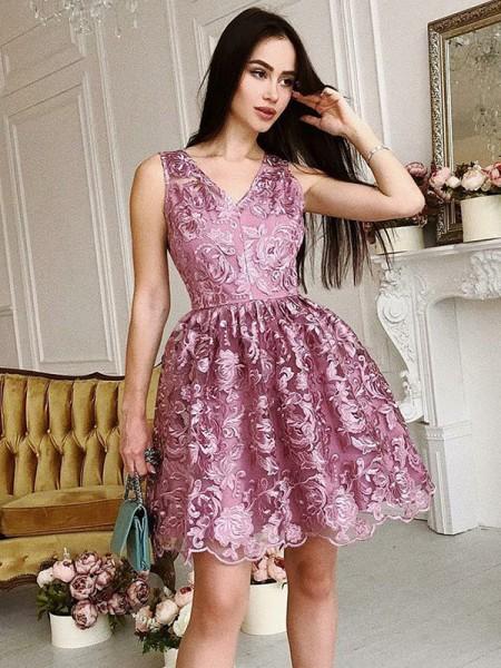 A-Line/Princess V-Neck Organza Ruched Short/Mini Dress