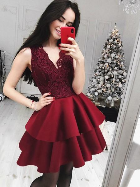 A-Line/Princess V-Neck Satin Short/Mini Dress with Lace