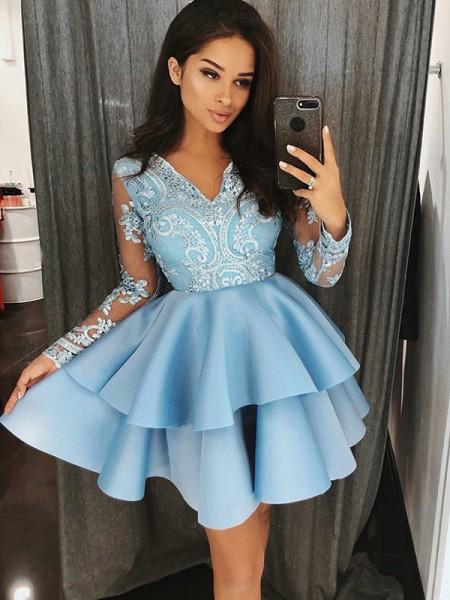 A-Line/Princess Satin V-Neck Applique Short/Mini Dress