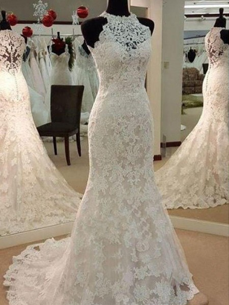 Sheath/Column Lace Applique Scoop Sleeveless Sweep/Brush Train Ivory Wedding Dresses