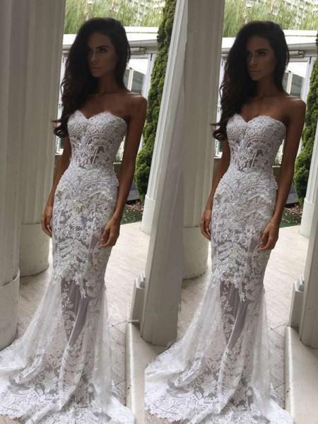 Trumpet/Mermaid Lace Applique Sweetheart Sleeveless Court Train White Wedding Dresses
