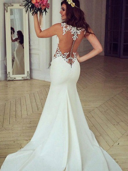 Trumpet/Mermaid Lace Applique Scoop Sleeveless Sweep/Brush Train Ivory Wedding Dresses