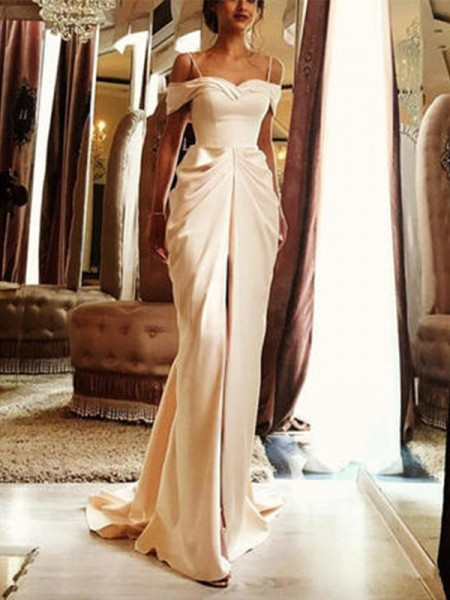 Sheath/Column Silk Like Satin Ruffles Off-the-Shoulder Short Sleeves Sweep/Brush Train Ivory Wedding Dresses