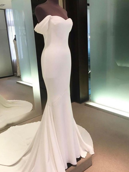 Sheath/Column Satin Off-the-Shoulder Short Sleeves Court Train Ivory Wedding Dresses