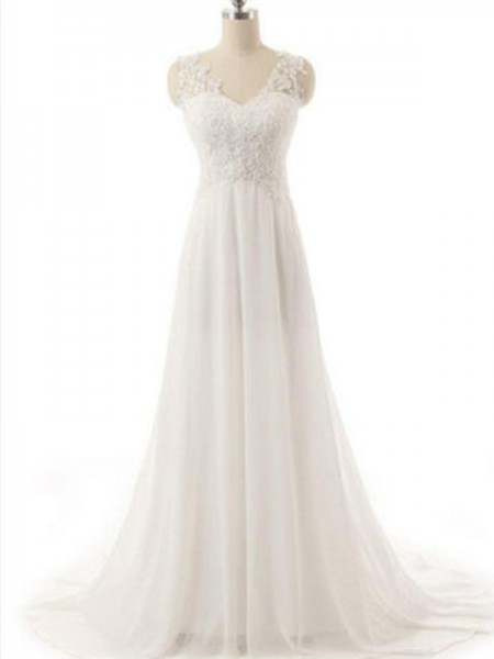 A-Line/Princess Chiffon Lace V-neck Sleeveless Sweep/Brush Train Ivory Wedding Dresses