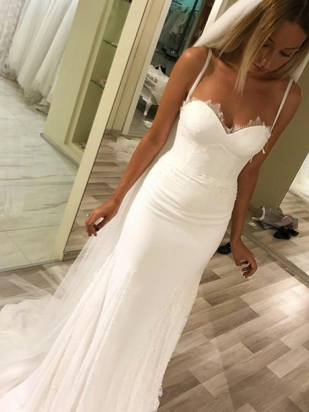 Sheath/Column Satin Sweetheart Sleeveless Sweep/Brush Train Ivory Wedding Dresses