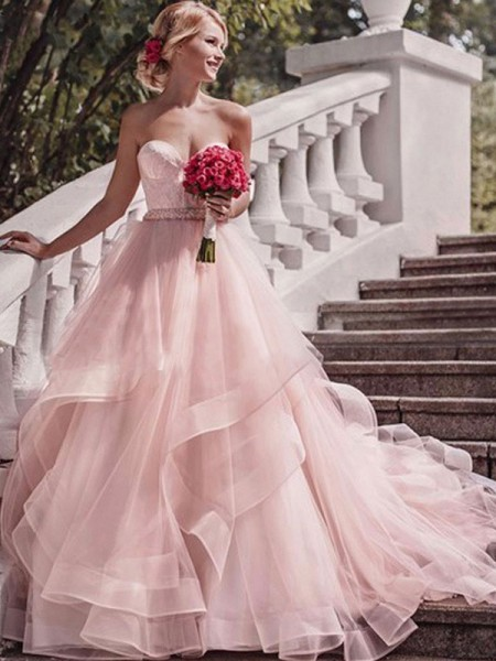 Ball Gown Organza Layers Sweetheart Sleeveless Court Train Pink Wedding Dresses