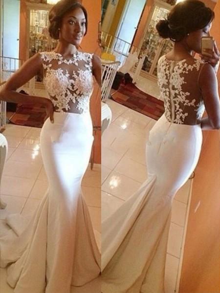 Trumpet/Mermaid Satin Lace Scoop Sleeveless Sweep/Brush Train Ivory Wedding Dresses