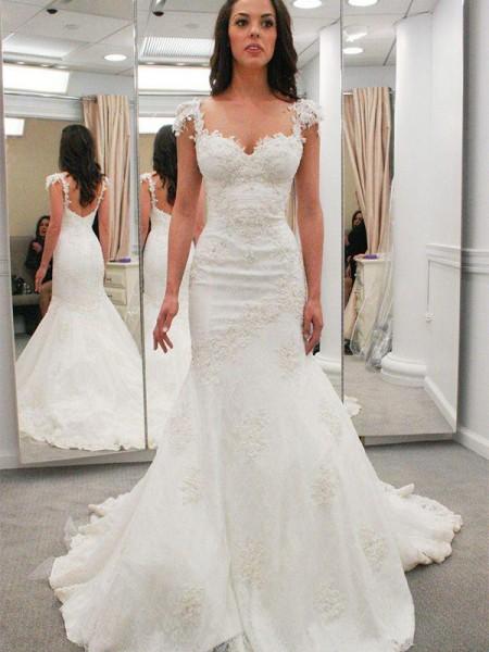 Trumpet/Mermaid Lace Applique Sweetheart Short Sleeves Chapel Train Ivory Wedding Dresses