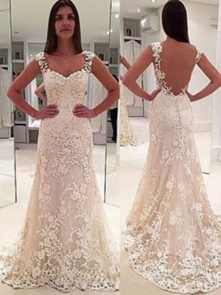 Sheath/Column Lace Applique Sweetheart Sleeveless Court Train Ivory Wedding Dresses