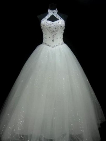 Ball Gown Tulle Beading Halter Sleeveless Floor-Length Ivory Wedding Dresses