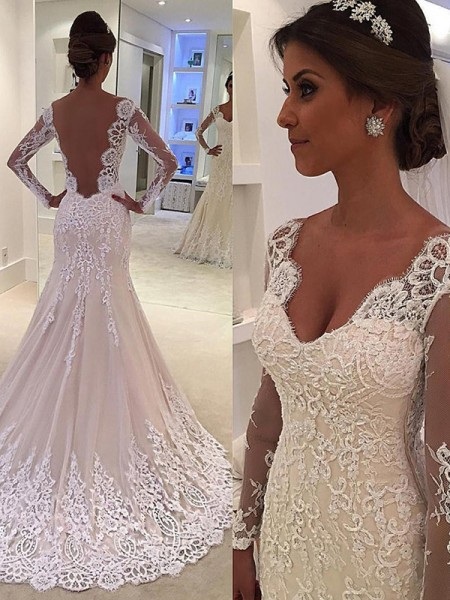 Trumpet/Mermaid Lace Lace V-neck Long Sleeves Court Train White Wedding Dresses