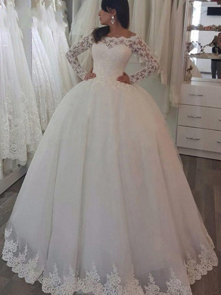 Ball Gown Lace Applique Off-the-Shoulder Long Sleeves Sweep/Brush Train Ivory Wedding Dresses