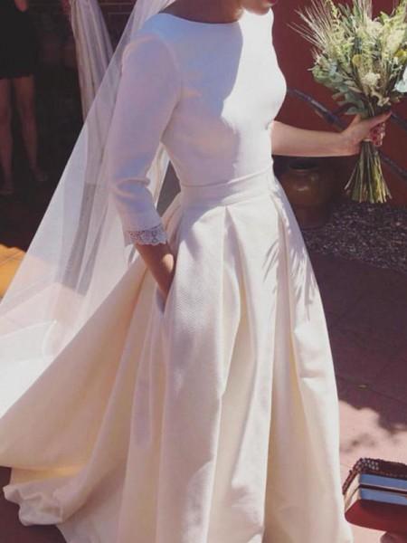 A-Line/Princess Satin Ruffles Scoop 3/4 Sleeves Sweep/Brush Train Ivory Wedding Dresses
