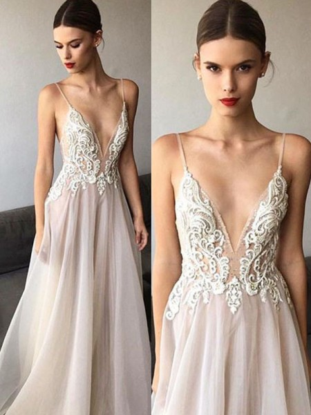 A-Line/Princess Tulle Lace V-neck Sleeveless Sweep/Brush Train Ivory Wedding Dresses