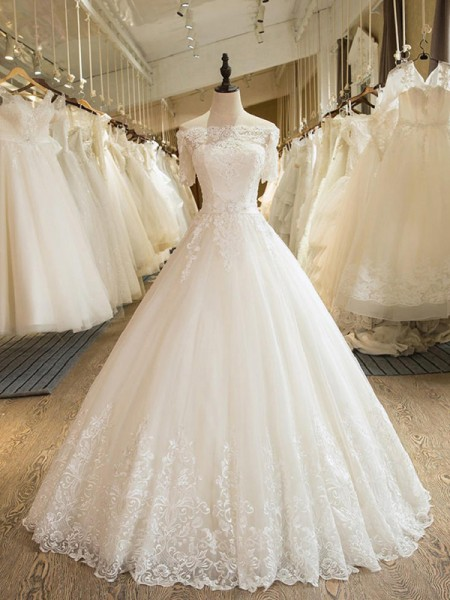 Ball Gown Tulle Applique Off-the-Shoulder 1/2 Sleeves Floor-Length Ivory Wedding Dresses