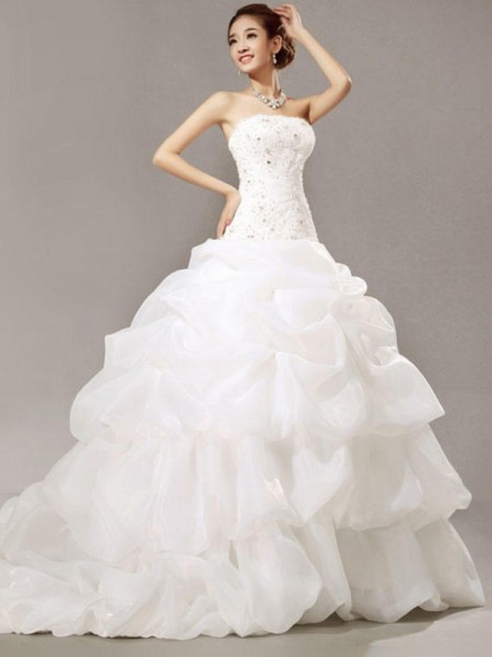 Ball Gown Organza Beading Strapless Sleeveless Cathedral Train White Wedding Dresses