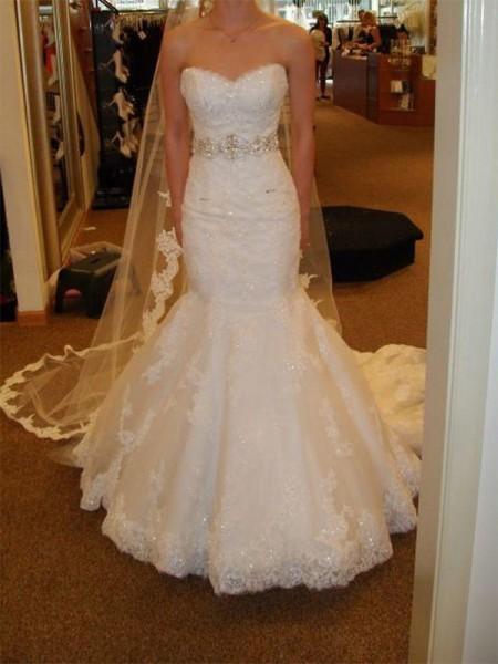 Trumpet/Mermaid Tulle Sweetheart Sleeveless Court Train Ivory Wedding Dresses