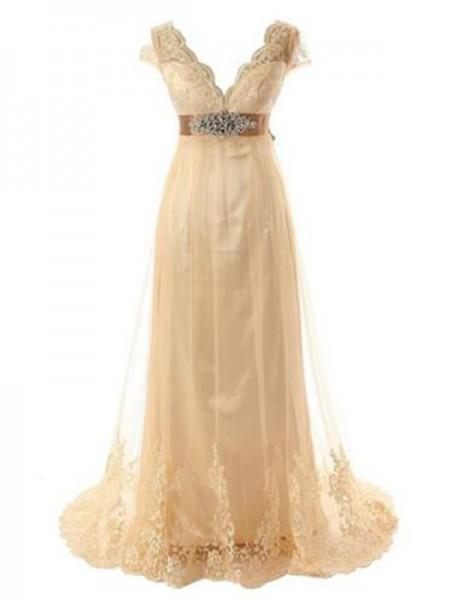 A-Line/Princess Tulle Beading V-neck Short Sleeves Sweep/Brush Train Champagne Wedding Dresses