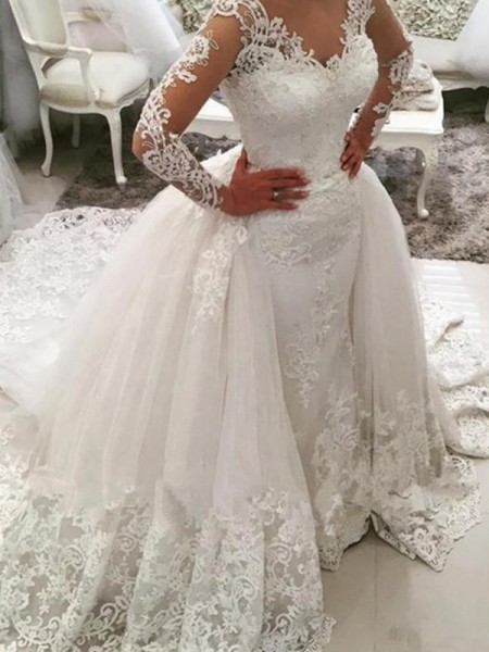 Ball Gown Tulle Applique V-neck Long Sleeves Cathedral Train White Wedding Dresses