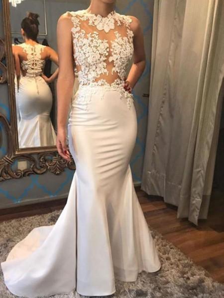 Trumpet/Mermaid Satin Applique Scoop Sleeveless Court Train Ivory Wedding Dresses