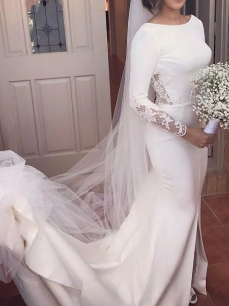Trumpet/Mermaid Satin Lace Scoop Long Sleeves Court Train Ivory Wedding Dresses