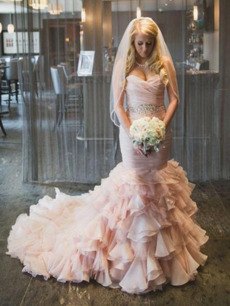 Trumpet/Mermaid Organza Ruffles Sweetheart Sleeveless Court Train Pink Wedding Dresses