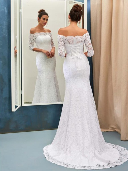 Trumpet/Mermaid Lace Lace Off-the-Shoulder 1/2 Sleeves Sweep/Brush Train White Wedding Dresses