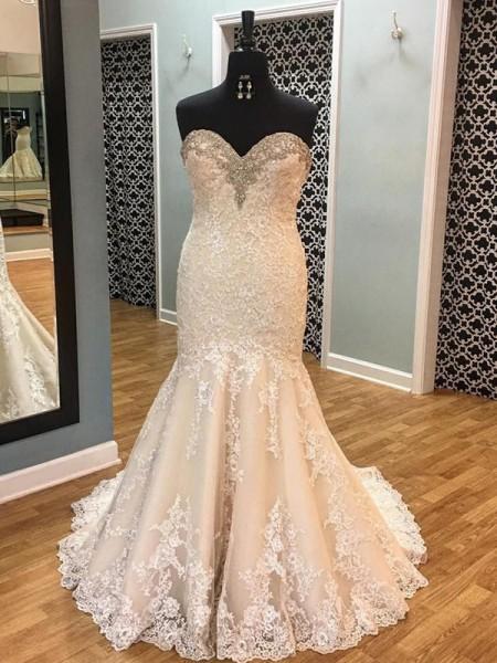 Trumpet/Mermaid Tulle Applique Sweetheart Sleeveless Court Train Champagne Wedding Dresses