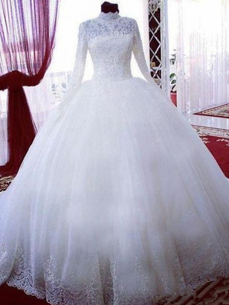 Ball Gown Tulle Lace High Neck Long Sleeves Chapel Train White Wedding Dresses