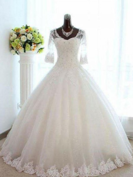 Ball Gown Tulle Beading Bateau 3/4 Sleeves Floor-Length Ivory Wedding Dresses