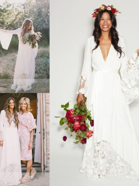 A-Line/Princess Chiffon Sash/Ribbon/Belt V-neck Long Sleeves Floor-Length Ivory Wedding Dresses