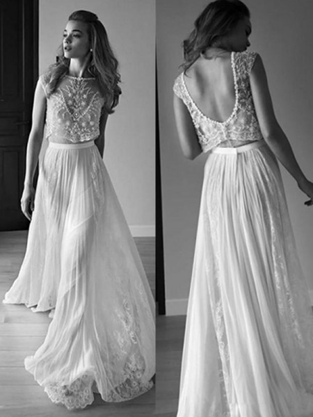 A-Line/Princess Tulle Beading Scoop Sleeveless Sweep/Brush Train White Wedding Dresses