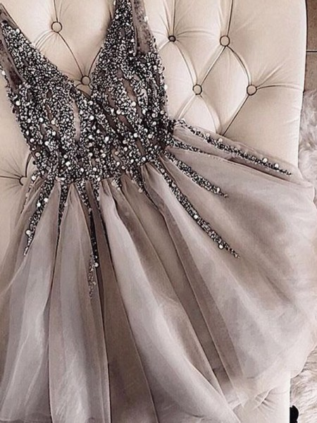 A-Line/Princess Sleeveless Sequin Tulle Short/Mini V-neck Dresses