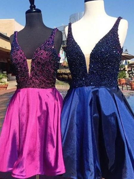 A-Line/Princess Sleeveless Beading Satin Short/Mini V-neck Dresses