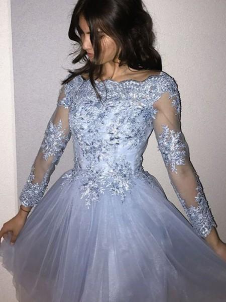 A-Line/Princess Long Sleeves Applique Tulle Short/Mini Off-the-Shoulder Dresses