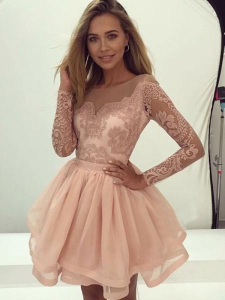 A-Line/Princess Long Sleeves Applique Organza Short/Mini Scoop Dresses