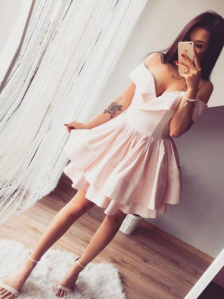 A-Line/Princess Sleeveless Ruffles Satin Short/Mini Off-the-Shoulder Dresses